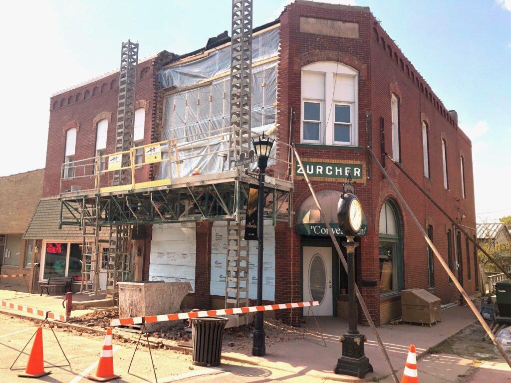 Zurcher Building repairs underway | DowntownMarceline.org